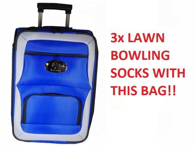 Prohawk Argyle Trolley Lawn Bowling Bag Blue/Grey