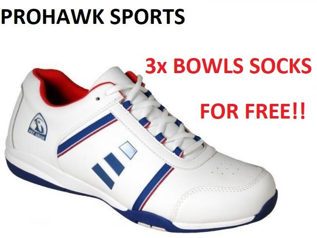 Prohawk PM50 Lawn Bowling Shoes. White/Blue