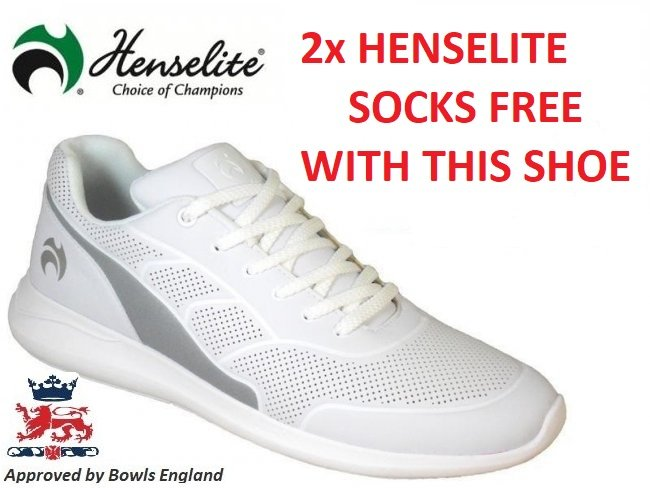 Henselite HM74 Lawn Bowls Shoe. White/grey