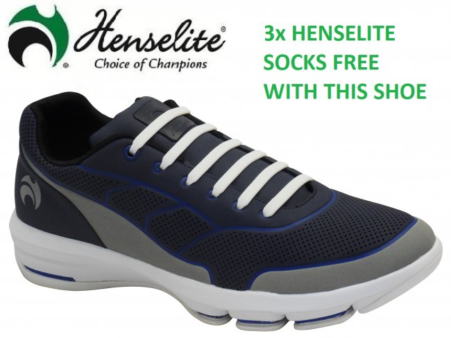 Henselite HM75 Sport Lawn Bowls Shoes. Navy/Grey