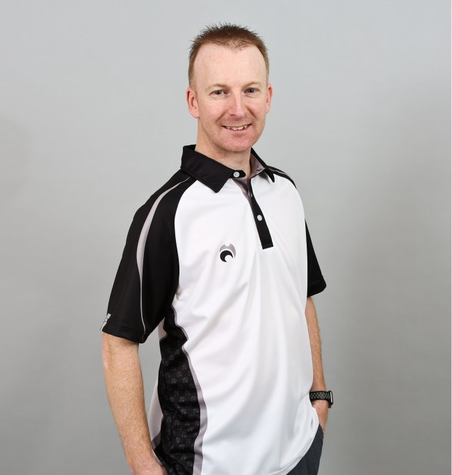 Henselite lawn Bowling Signature Polo White-Black-Grey.