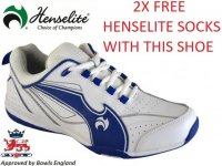 Henselite Blade34 Lawn Bowling Shoes. White/Blue
