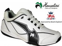 Henselite Blade34 Lawn Bowling Trainers. White/Black