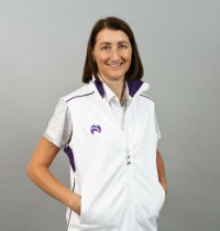 Henselite Bowling Soft Shell Body Warmer. White with Lilac Trim